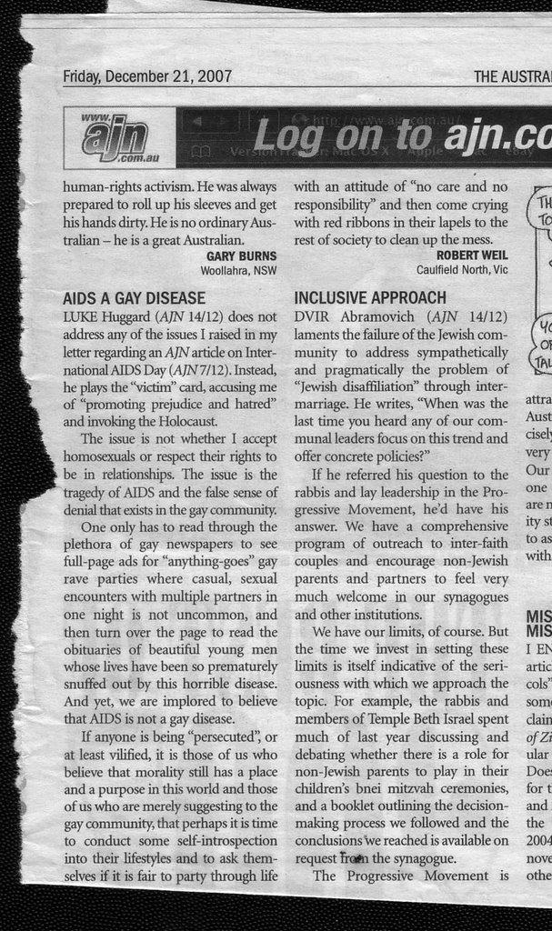 Robert Weil - AJN - 21-DEC-2007 - AIDS A GAY DISEASE