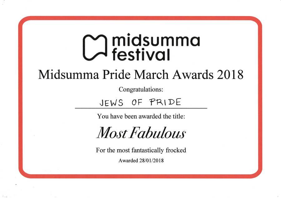 "2018 Midsumma Pride March ""Jews of Pride"" Most Fabulous award"