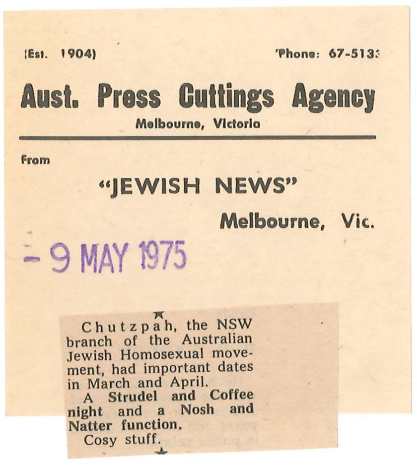 Australian Jewish Homosexual Movement - Chutzpah - May 9 1975