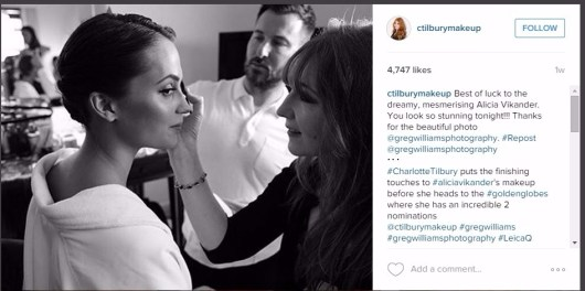 Charlotte Tilbury makeup on Alicia Vikander