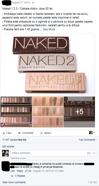 Facebook post - fake Naked palettes