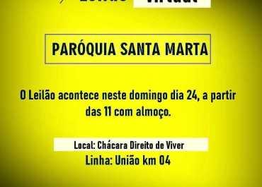 Neste Domingo Dia 24/10 Leilão Virtual Paroquia Santa Marta…