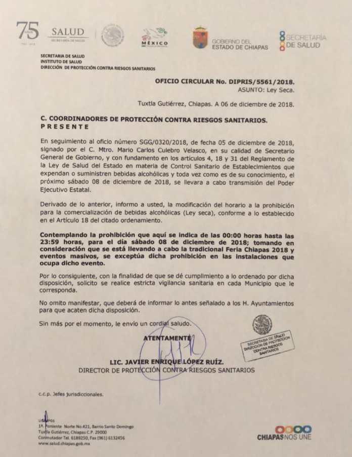 Aplicarán Ley seca por toma de posesión de Rutilio Escandón WhatsApp Image 2018 12 07 at 2.42.55 PM