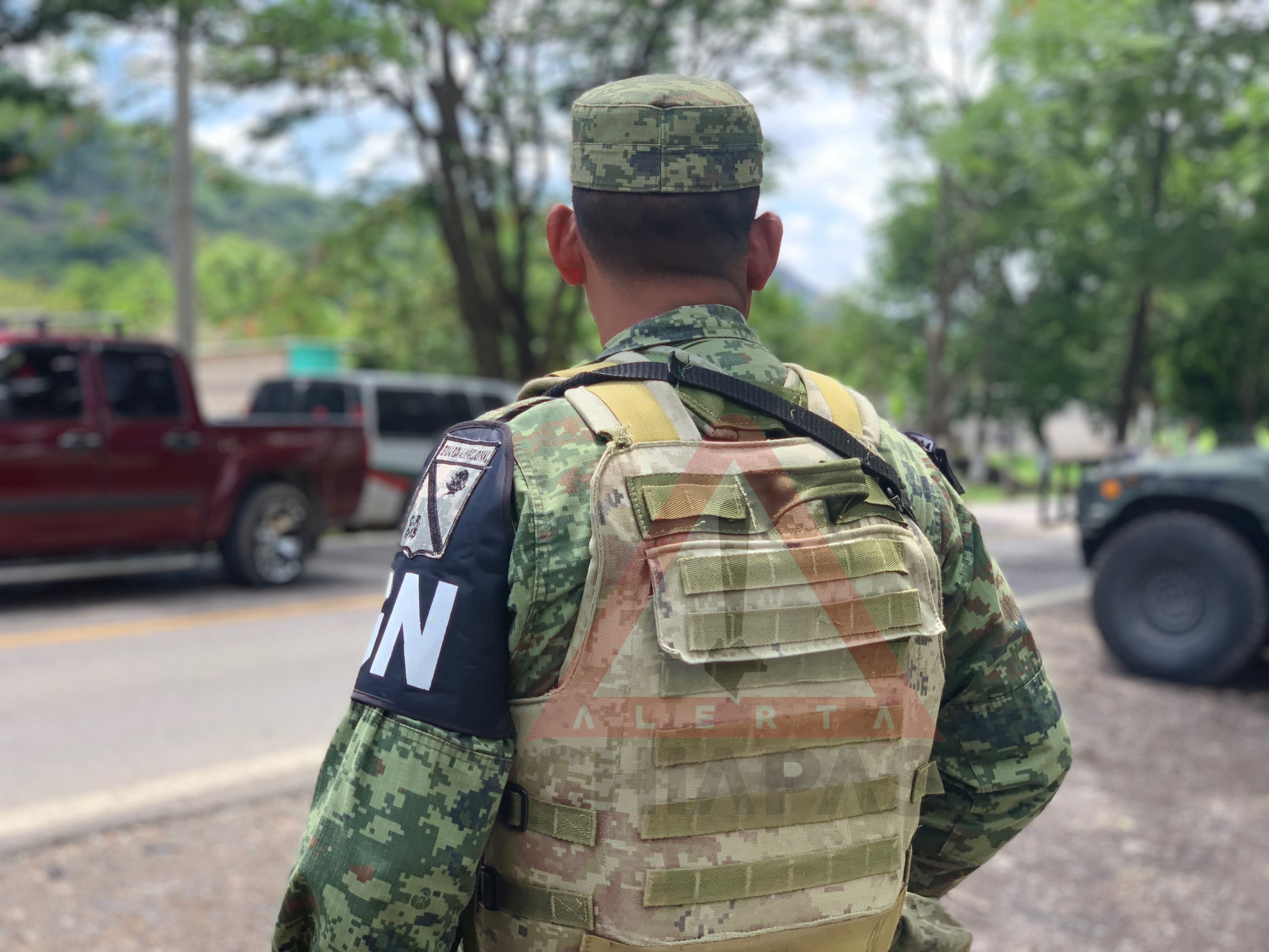 Guardia Nacional instala retén en la frontera de Comalapa