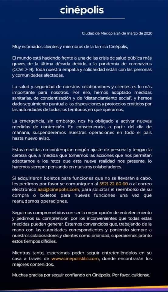 Cinépolis cierra sus 4 mil salas en todo México tras entrar a fase 2 por COVID-19 051e1a21 783a 4fdc a99f ed9e24520308
