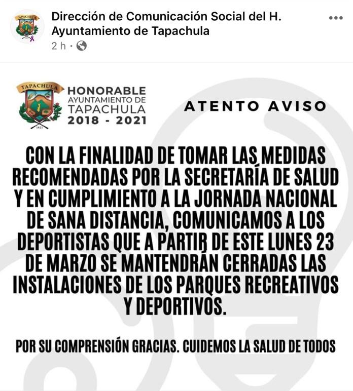 Cierran parques deportivos y recreativos en Tapachula img 7675