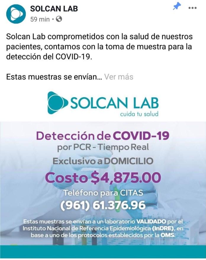 Ofrece laboratorio en Tuxtla prueba de COVID-19 dff31621 96ee 42d7 9315 ffd8c28d4db8