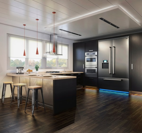 Black-Wood-Kitchen-Final-render-vray-interior 3d