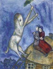 Tetti Marc Chagall Le cheval à l'ombrelle et les amoreaux sur le toit, ca. 1927-28