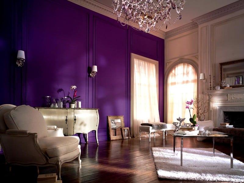 Esempio di pareti beige e porpora in un soggiorno moderno. Tinteggiatura Pareti Parma Fidenza Imbiancatura Case Abitazioni Private Villette Appartamenti