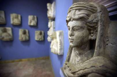 Una scultura all'interno del sito archeologico di Palmira, in Siria. (JOSEPH EID/AFP/Getty Images)