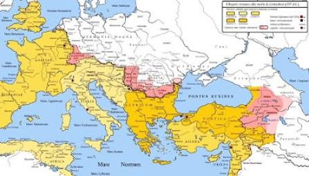Costantino,Impero romano alla morte 337dc