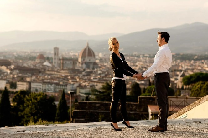 Engagement picture at San Miniato al Monte in Florence