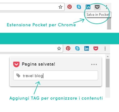 organizzazione contenuti pocket app