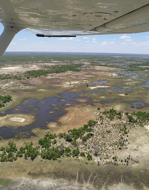 Sobrevolando el Delta del Okavango, Botsuana