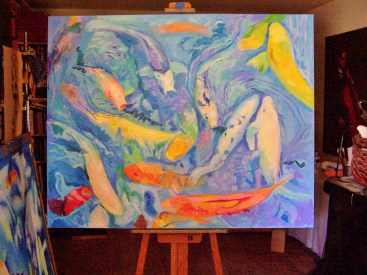big koi on easel