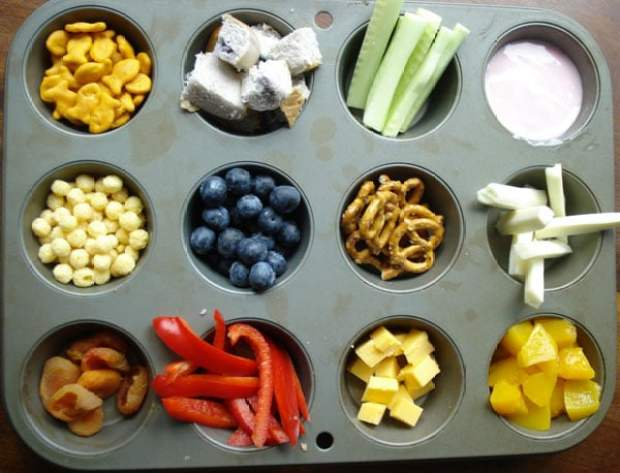 Muffin tin snacks are a healthy summer snack idea for kids