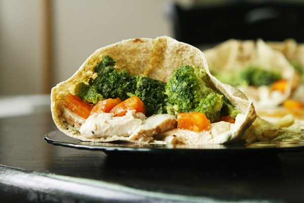Chicken Veggie Pita Pockets  are one of many healthful school lunches