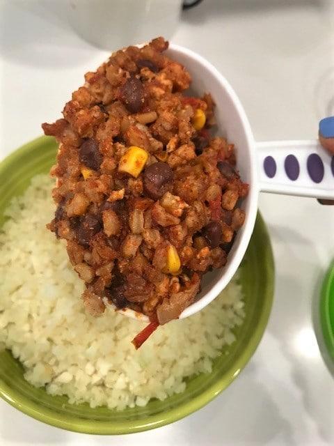 Slow Cooker Chicken Enchiladas over cauliflower rice