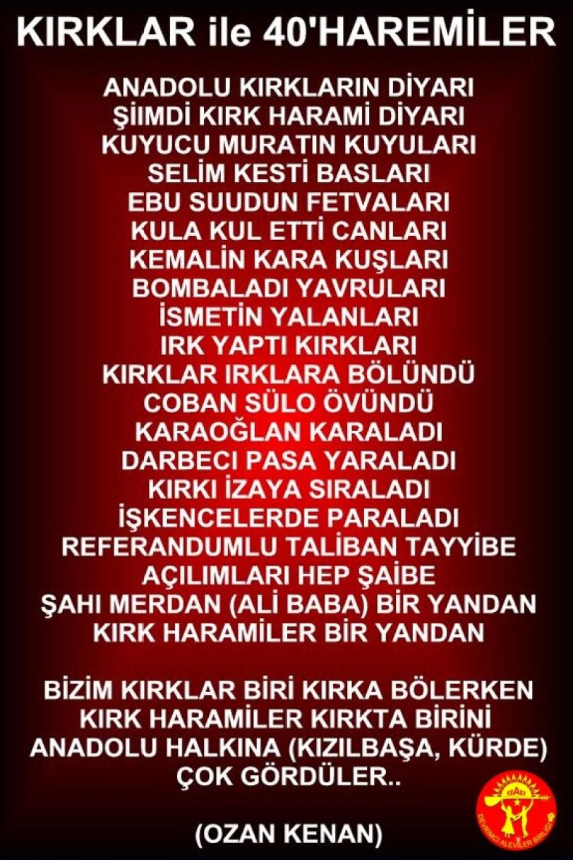 Alevi Bektaşi Kızılbaş Pir Sultan Devrimci Aleviler Birliği DAB 40 HARAMILER