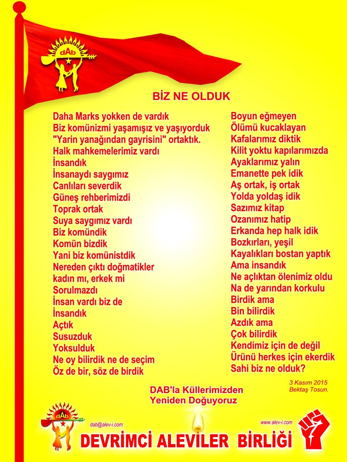 Alevi Bektaşi Kızılbaş Pir Sultan Devrimci Aleviler Birliği DAB DAB bayrak bektas tosun