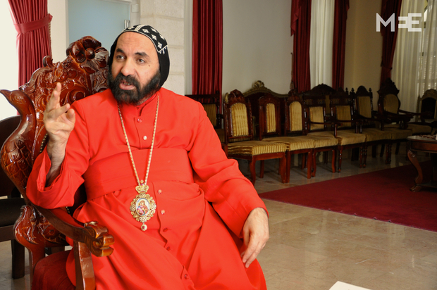 Syriac Archbishop Archbishop Sewerios Malki Murad at the Patriarchate in the St. Mark's compound in Jerusalem (MEE/Emily Mulder)