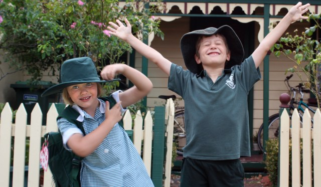 My sister's first school day, and my second year in South Geelong Primary School