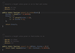 A screenshot showing two PHP functions for converting measurements from imperial to metric