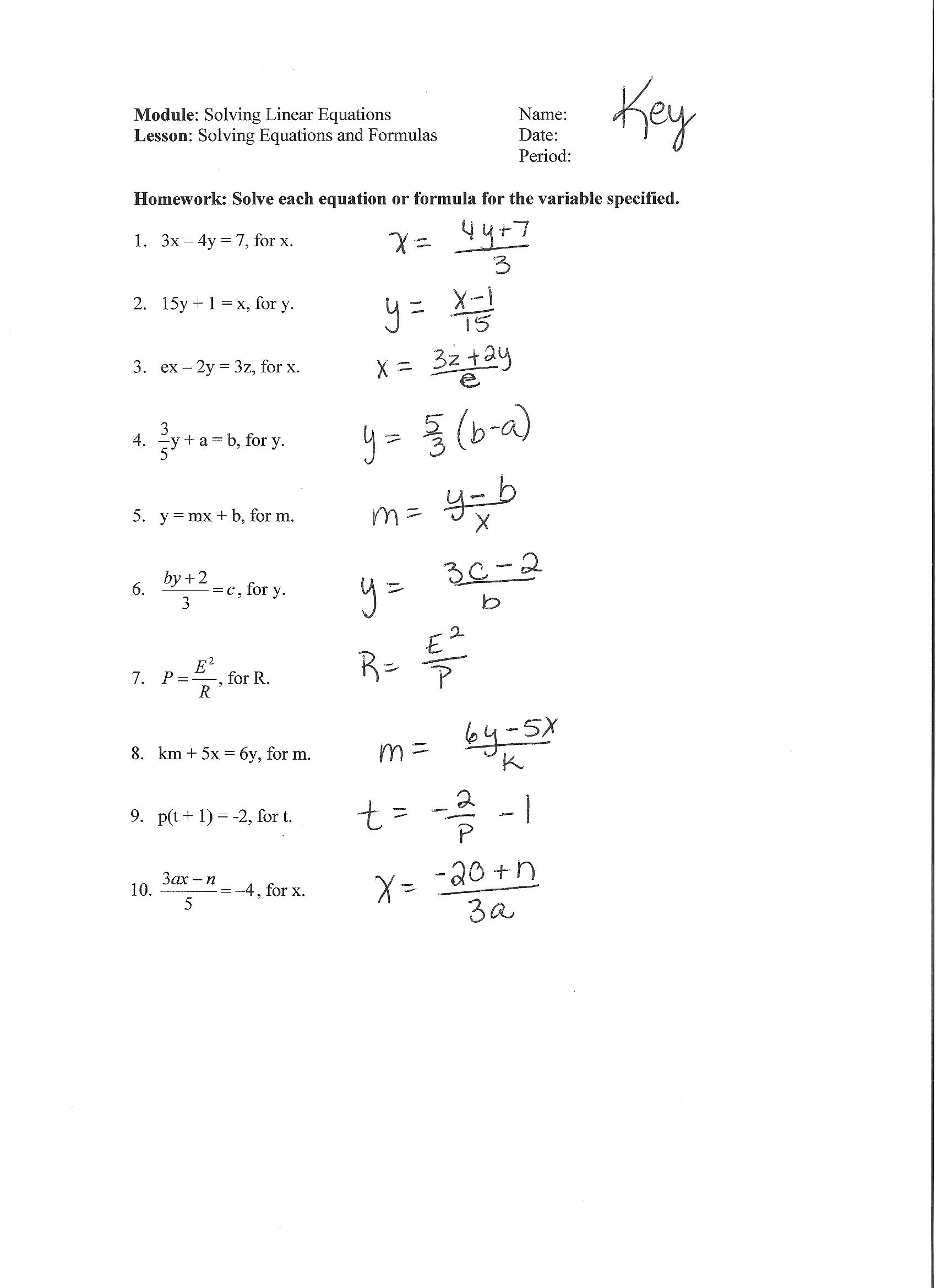 Multi Step Equations With Fractions Worksheet