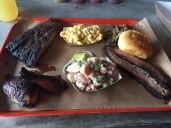 The San Marco Platter at Bearded Pig - Ribs, Dark Meat Chicken, Macaroni and Cheese, Potato Salad, Pulled Pork, and Brisket