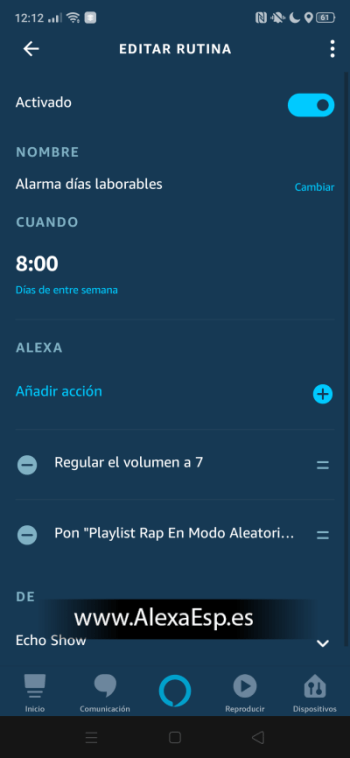 playlist spotify en modo aleatorio con alexa