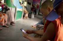 Monk on Facebook on the Circular Train.