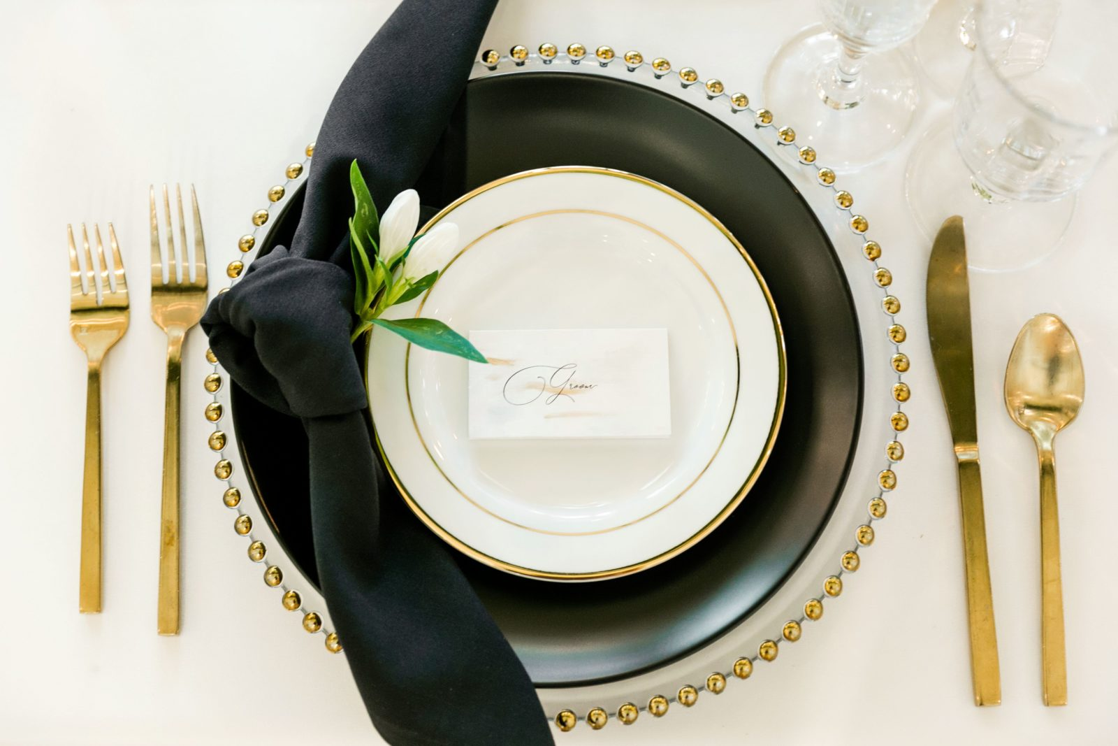 Black and gold wedding china: Sophisticated and Chic wedding inspiration on Alexa Kay Events