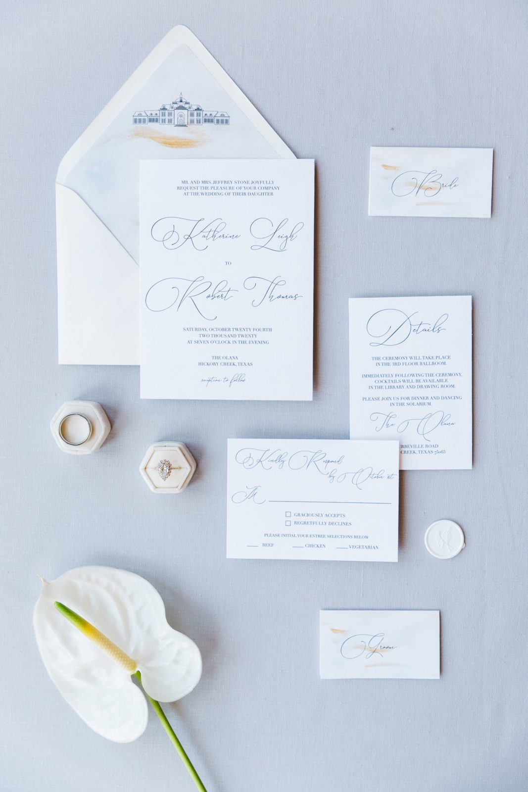 Simple wedding stationery design for elegant wedding inspiration at The Olana The Olana wedding inspiration on Alexa Kay Events
