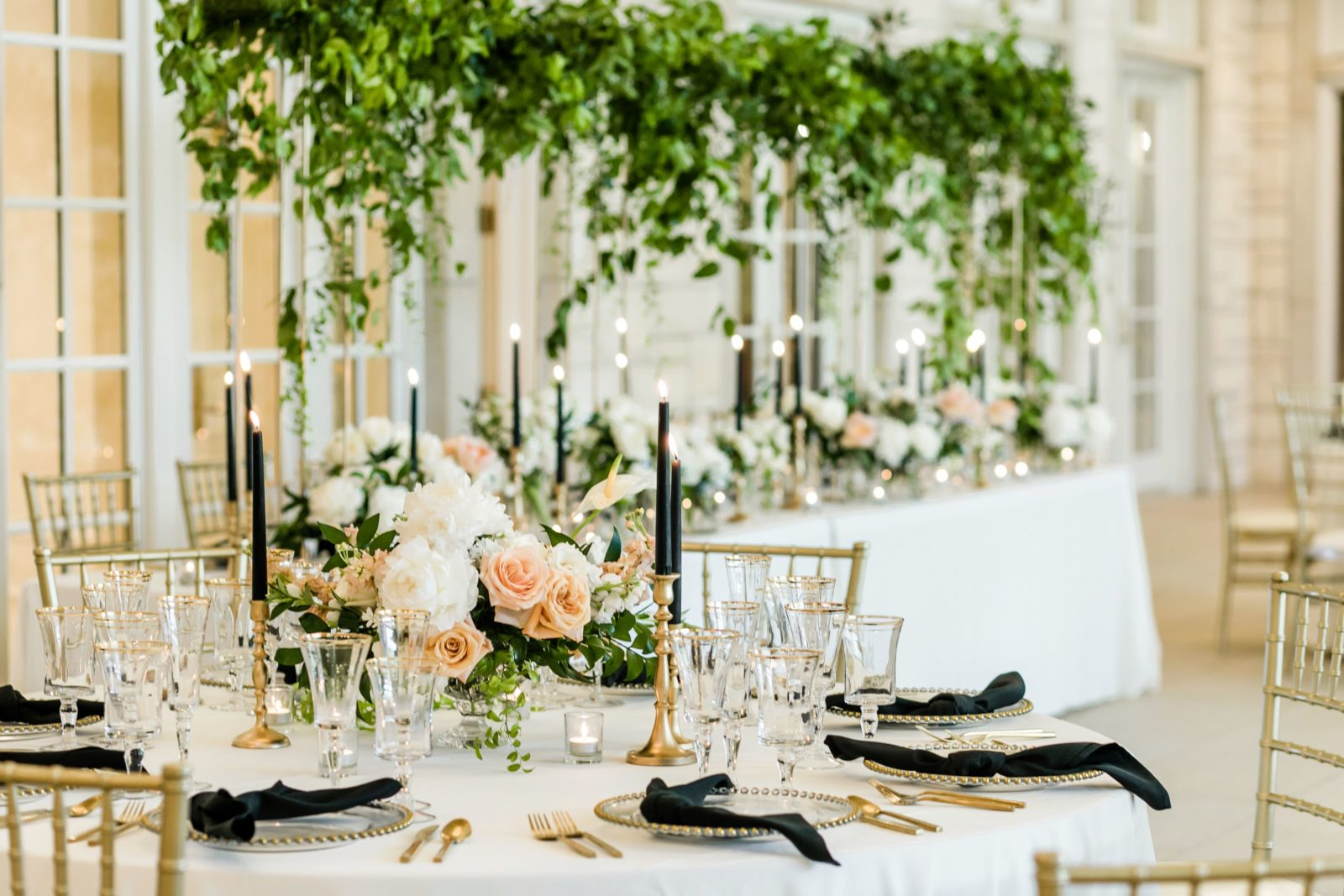 Romantic wedding reception decor: Sophisticated and Chic wedding inspiration on Alexa Kay Events