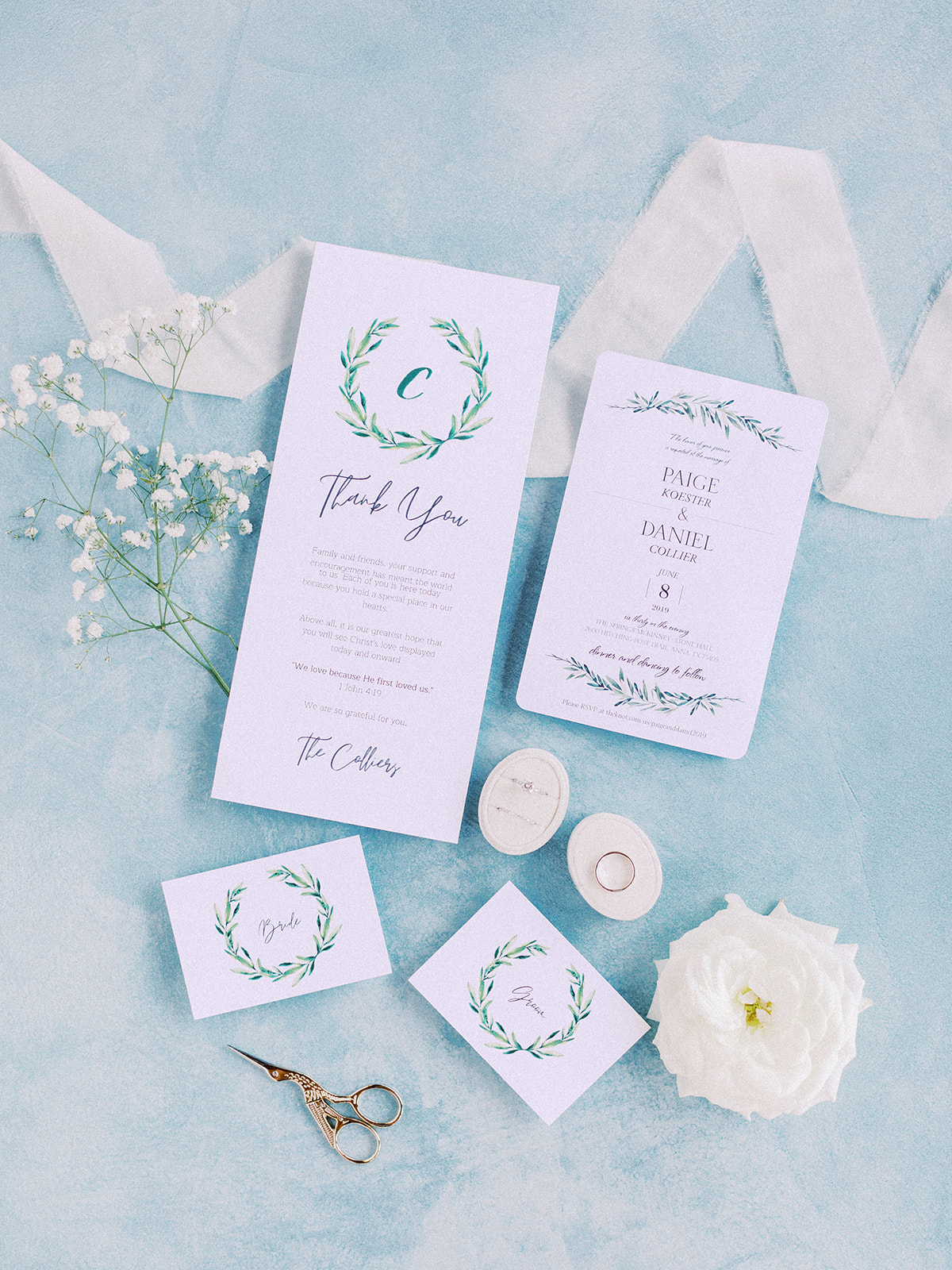 Blue wedding invitation suite: Romantic blue Texas wedding at Spring Venue by Alexa Kay Events