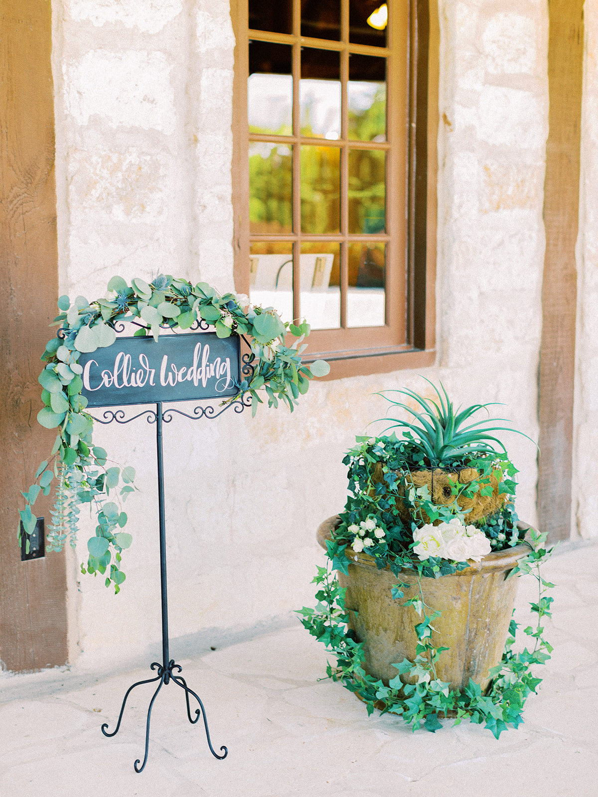 Wedding sign with greenery: | Romantic blue Texas wedding at Spring Venue by Alexa Kay Events