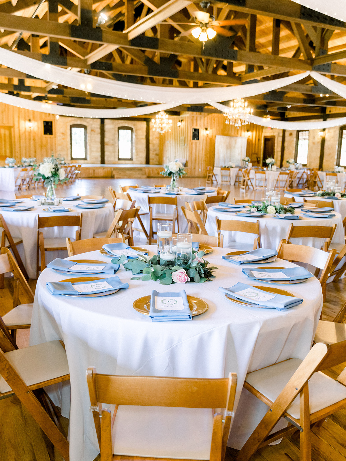 Wedding reception design: | Romantic blue Texas wedding at Spring Venue by Alexa Kay Events