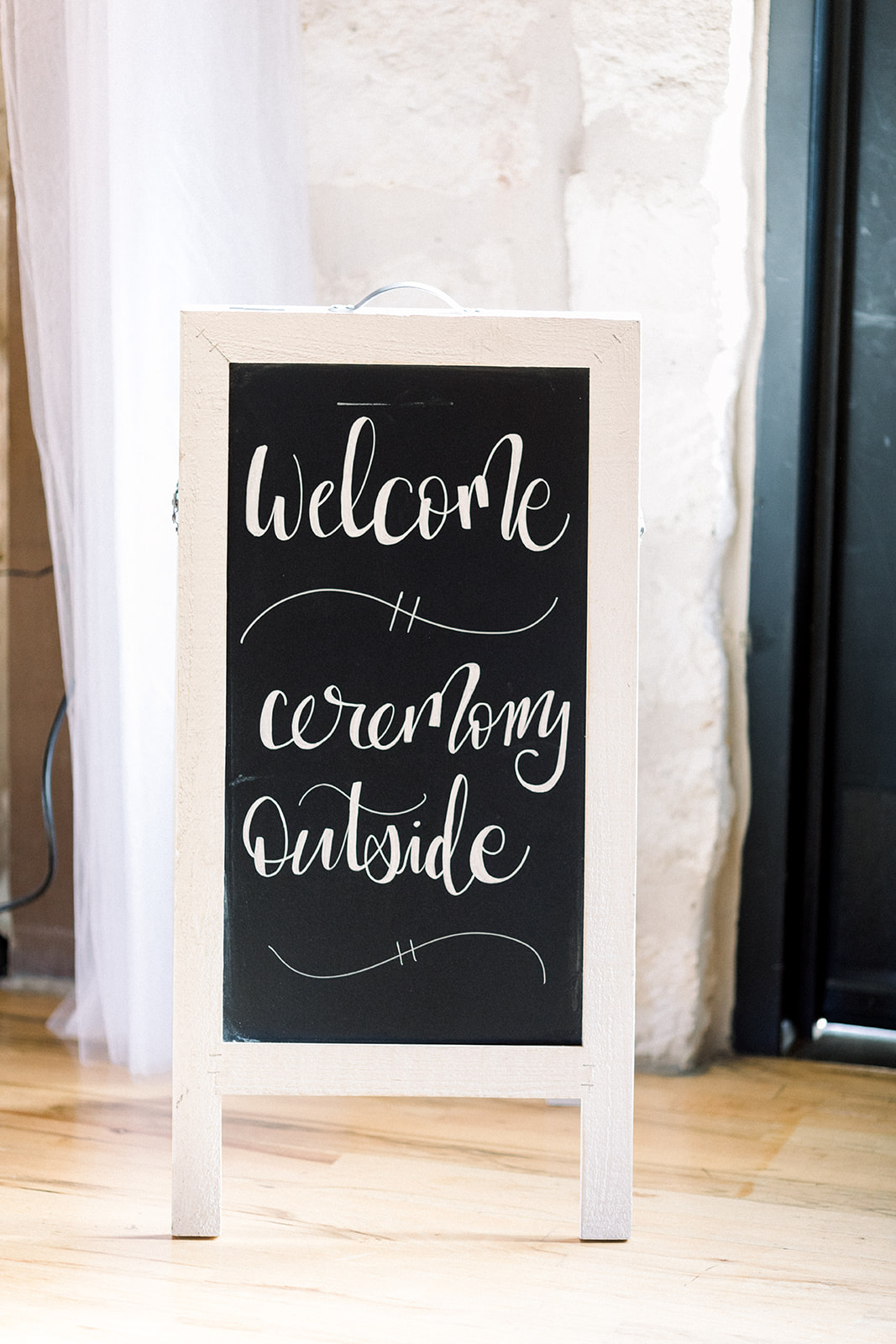 Wedding chalkboard welcome sign: | Romantic blue Texas wedding at Spring Venue by Alexa Kay Events