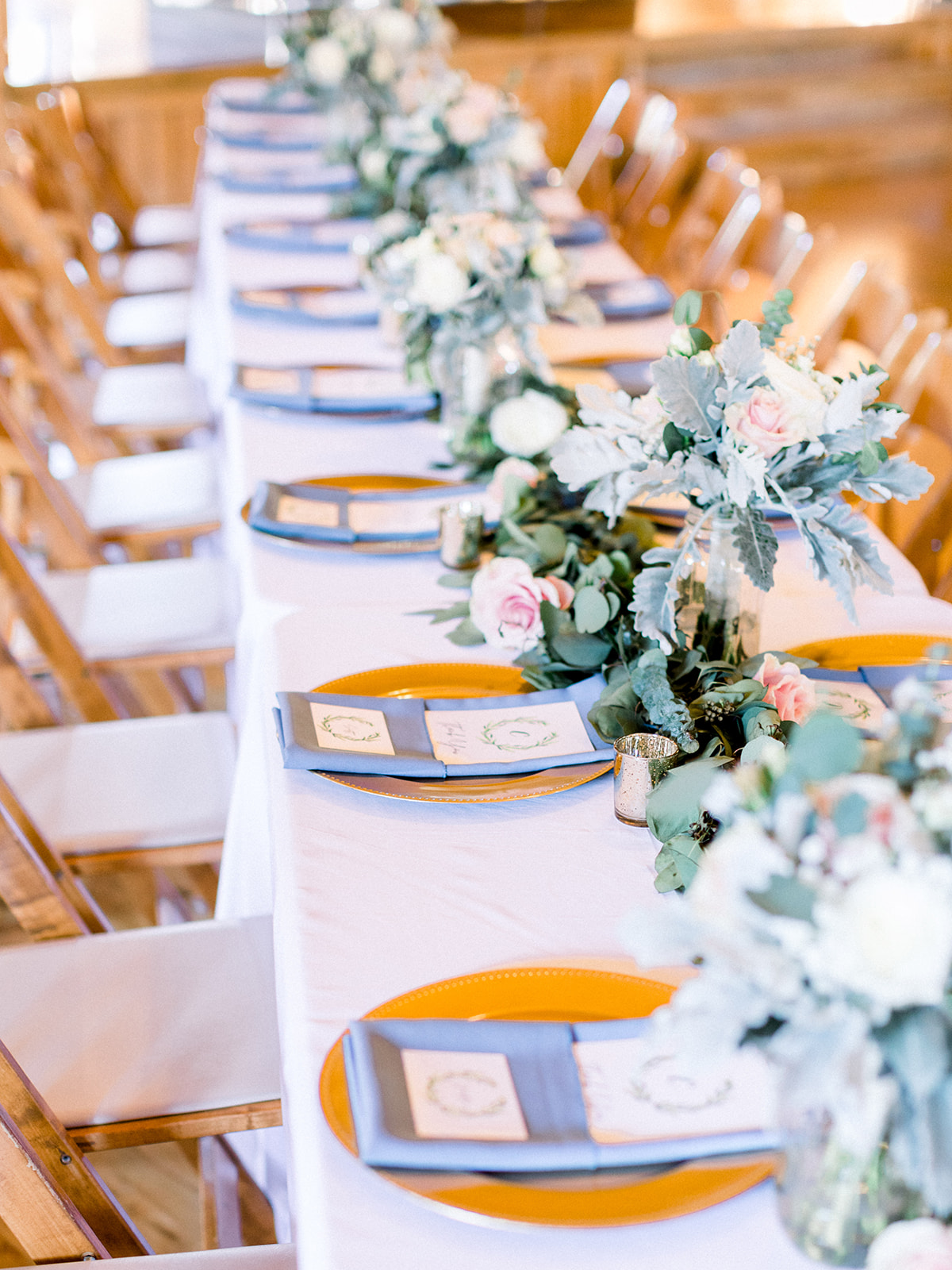 Blue and gold wedding tablescape: | Romantic blue Texas wedding at Spring Venue by Alexa Kay Events