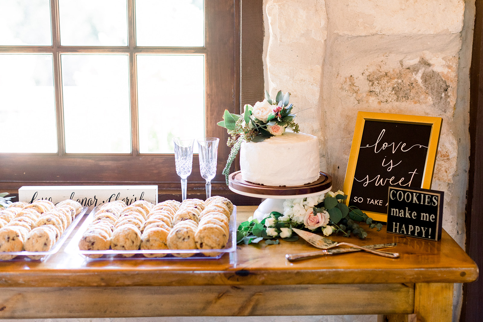Wedding cake and dessert table: | Romantic blue Texas wedding at Spring Venue by Alexa Kay Events