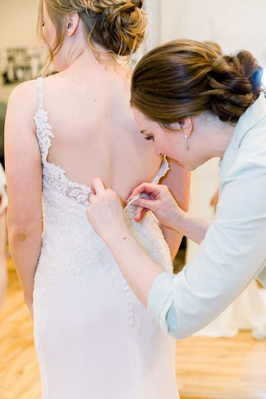 Wedding dress details: | Romantic blue Texas wedding at Spring Venue by Alexa Kay Events