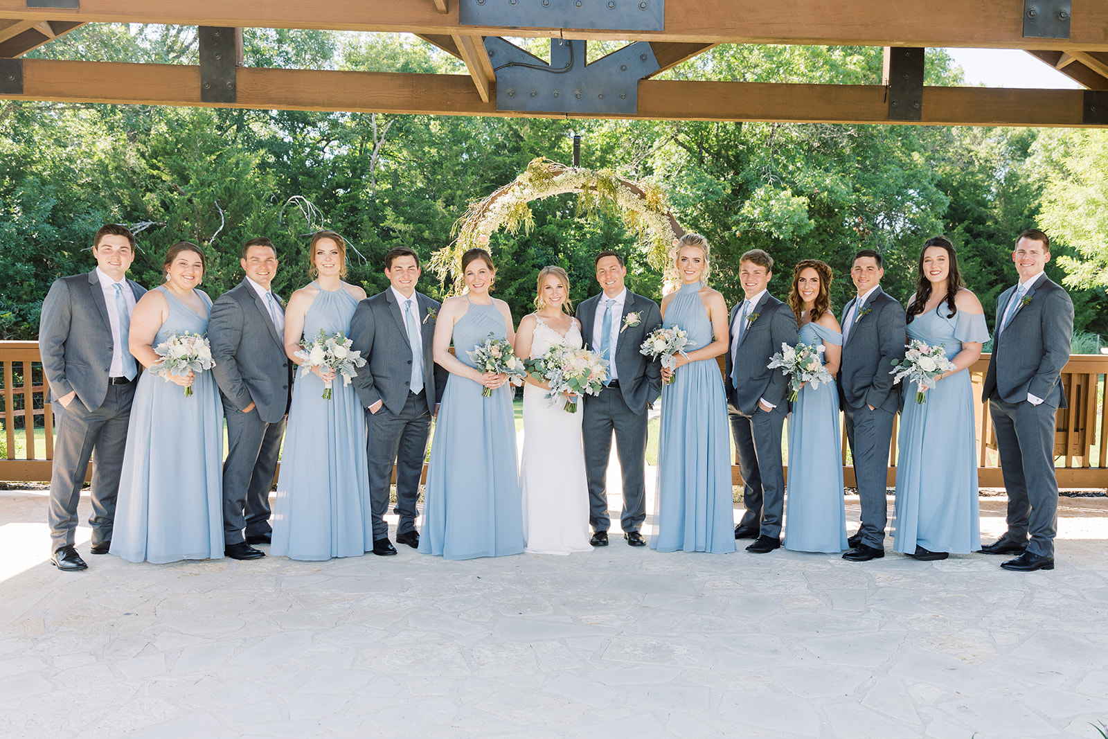 Wedding party photos: | Romantic blue Texas wedding at Spring Venue by Alexa Kay Events