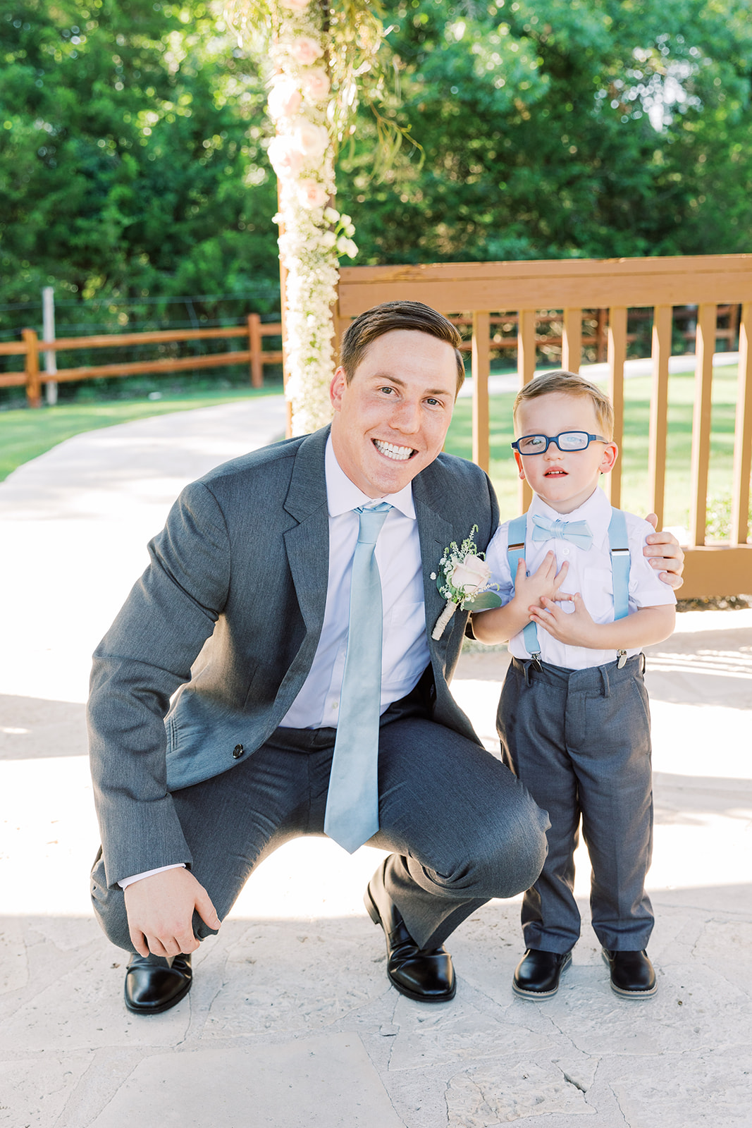 Ring bearer attire: | Romantic blue Texas wedding at Spring Venue by Alexa Kay Events