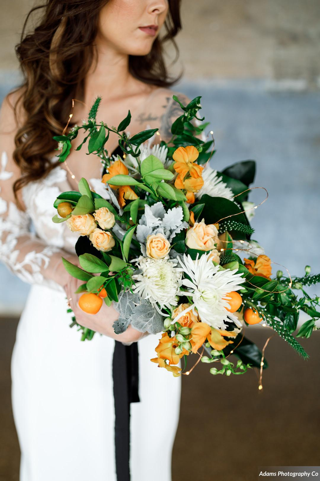 Modern wedding bouquet: Black, White, and Gold Modern Wedding Inspiration featured on Alexa Kay Events