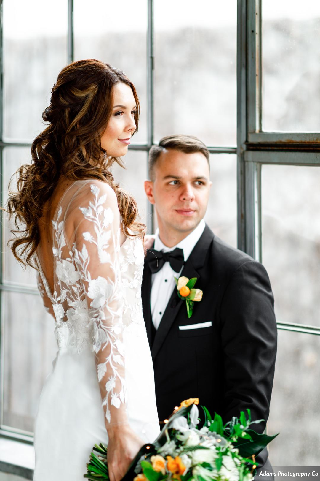 Lace wedding sleeves: Black, White, and Gold Modern Wedding Inspiration featured on Alexa Kay Events