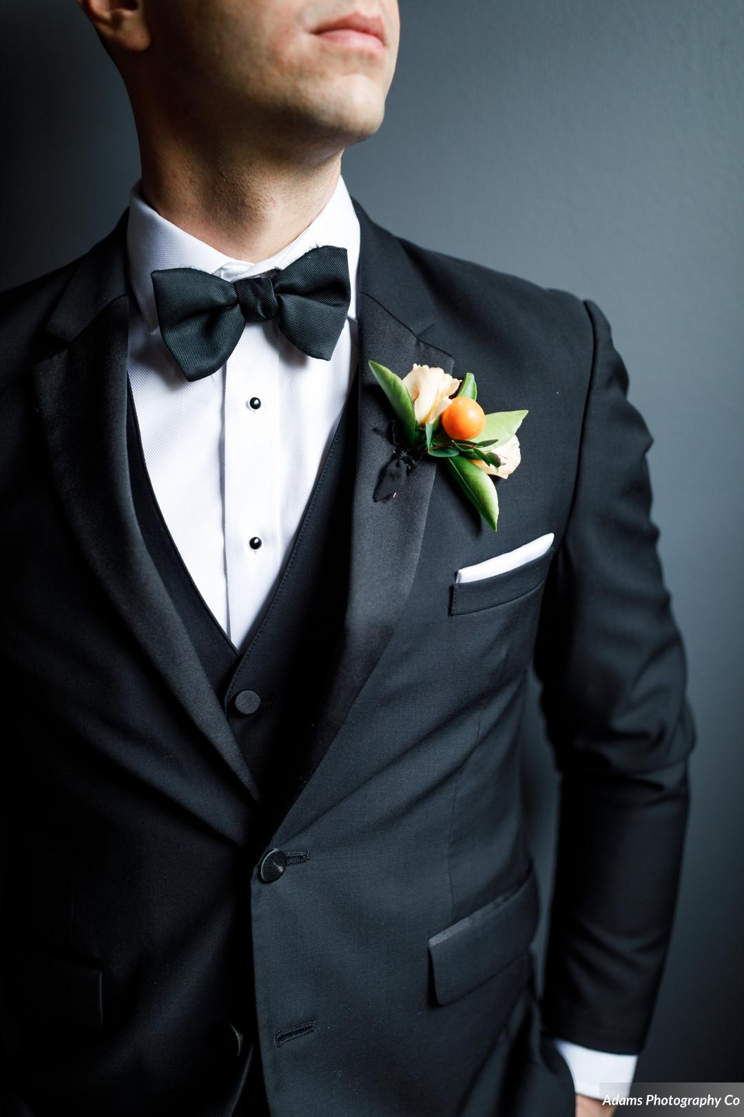 Black wedding tuxedo: Black, White, and Gold Modern Wedding Inspiration featured on Alexa Kay Events