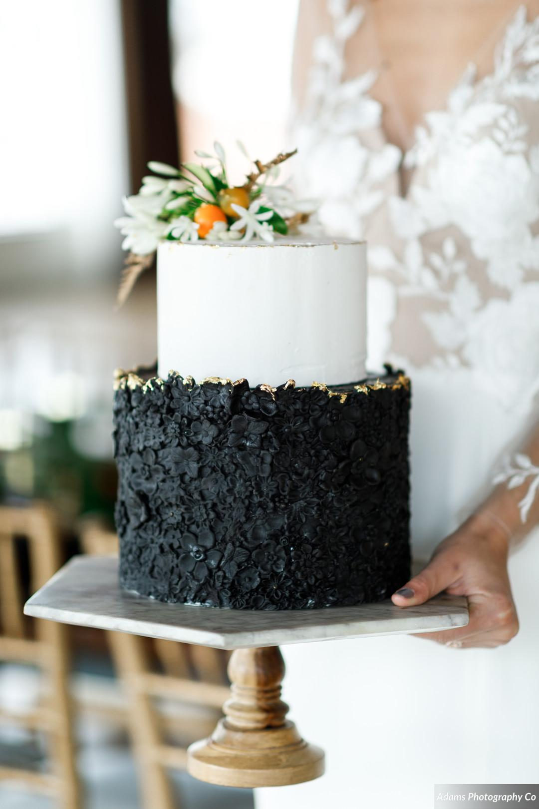 Black and white wedding cake: Black, White, and Gold Modern Wedding Inspiration featured on Alexa Kay Events