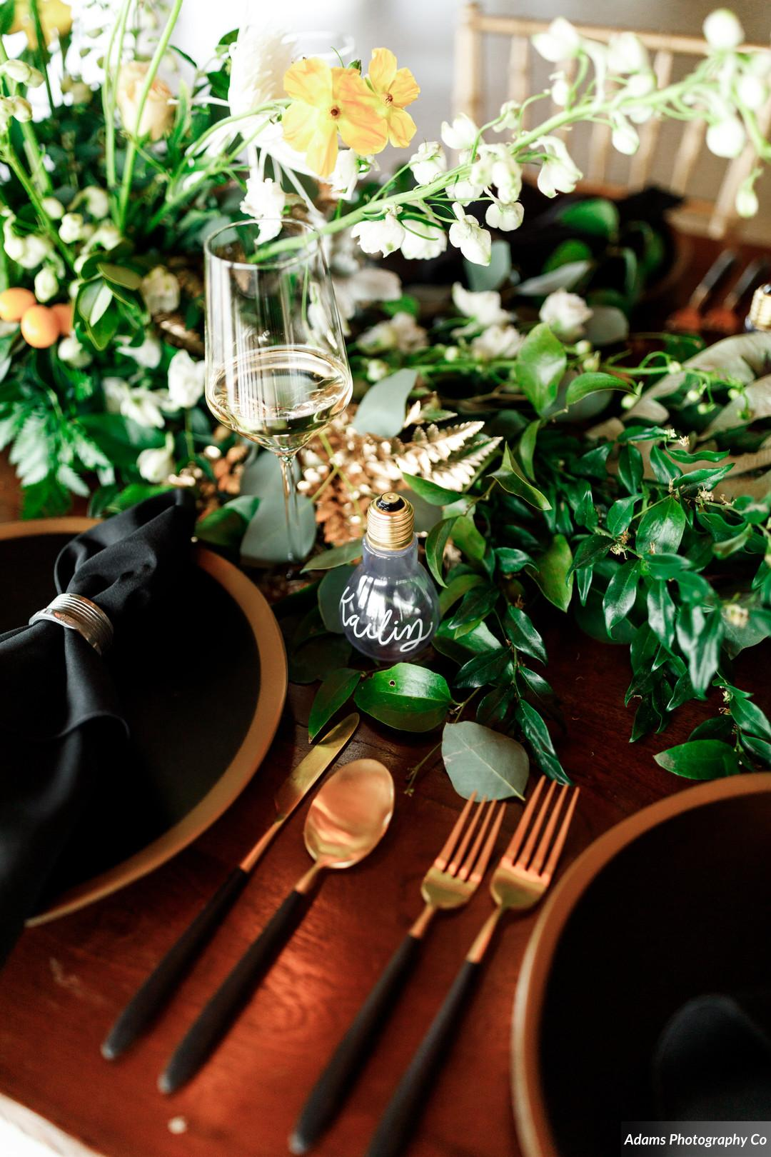 Wedding place setting: Black, White, and Gold Modern Wedding Inspiration featured on Alexa Kay Events
