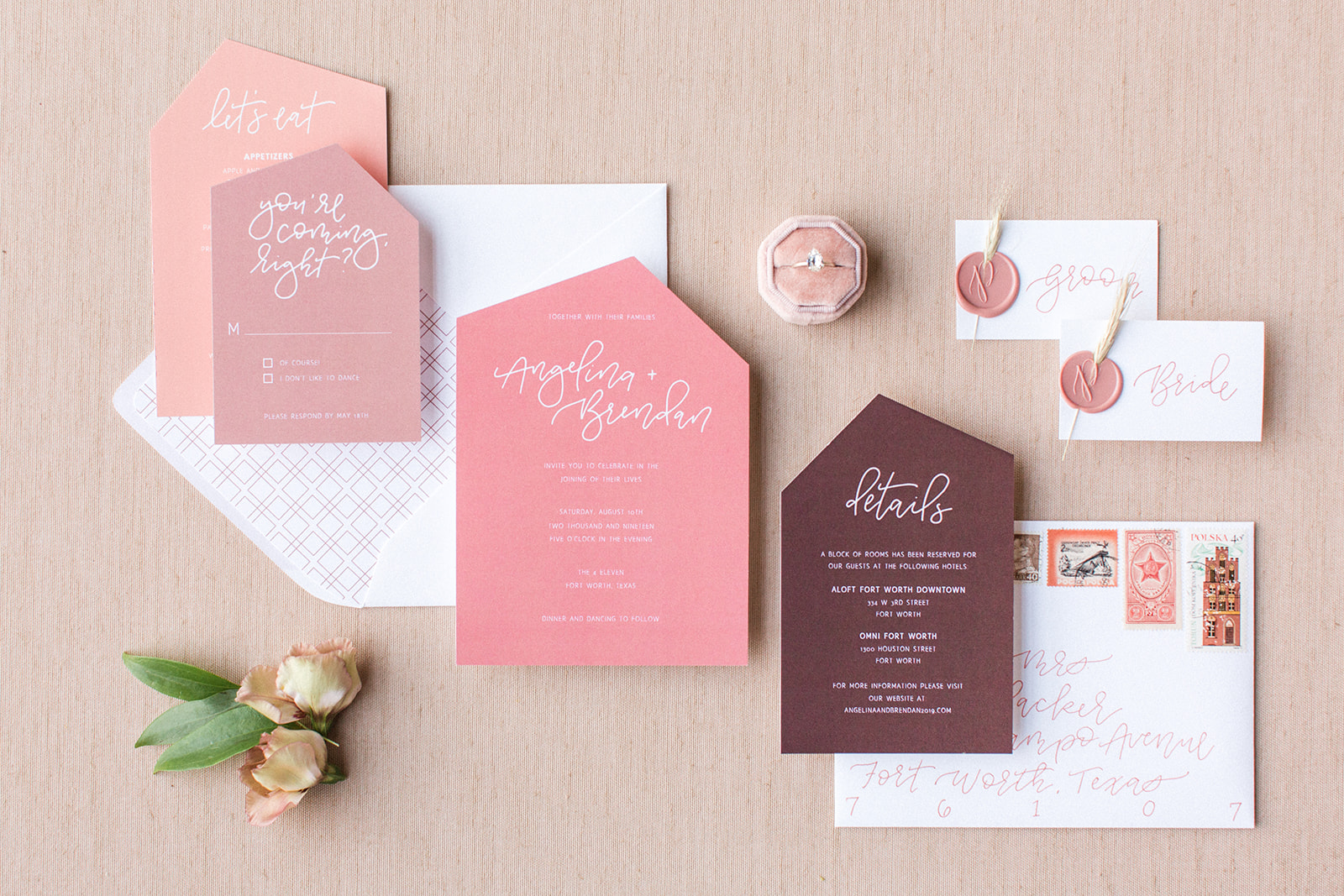 Pink and burgundy wedding invitations: Fall Garden Wedding featured on Alexa Kay Events